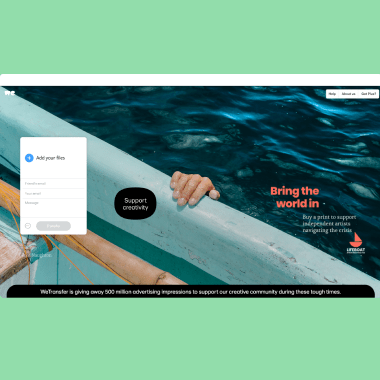 WeTransfer donates 500 million advertising impressions to support independent creatives during the COVID-19 crisis